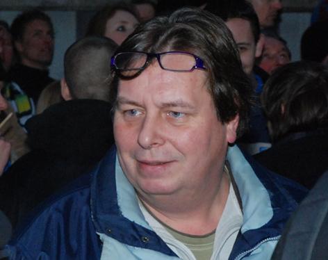 Wim Elsthout, voormalig lid Tweede Kamer voor de CD, op een PVV manifestatie