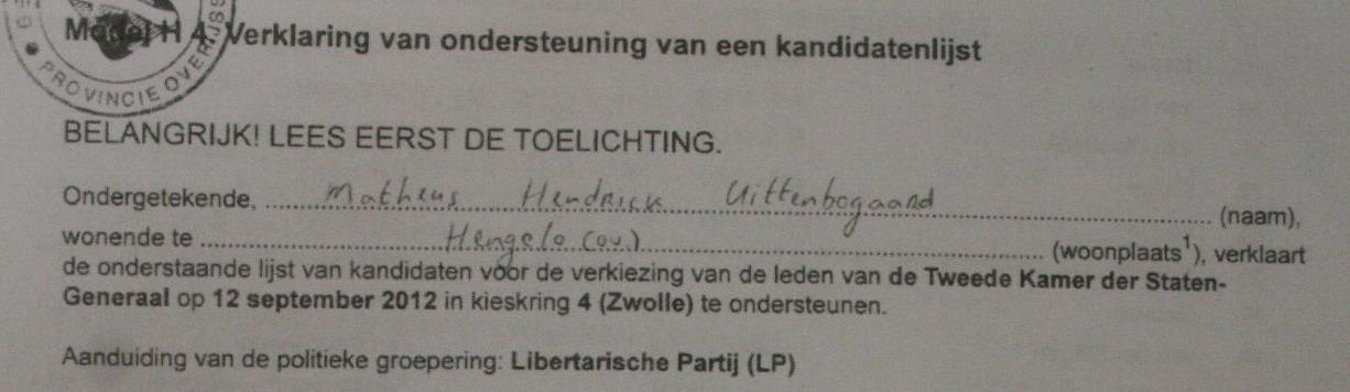 Marthijn Uittenbogaard ondersteunt de Libertarische Partij
